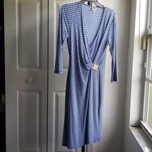 Anne klein Faux Wrap Jersey Dress LOGO